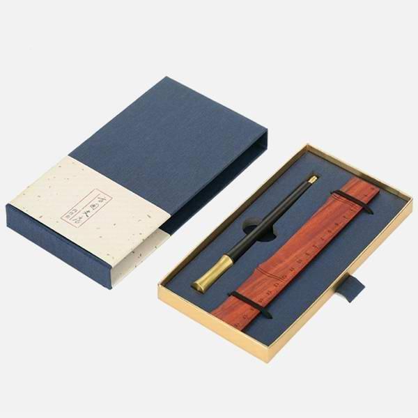 定做红木签字笔 定制成都礼品签字笔 红木礼品书尺商务套装
