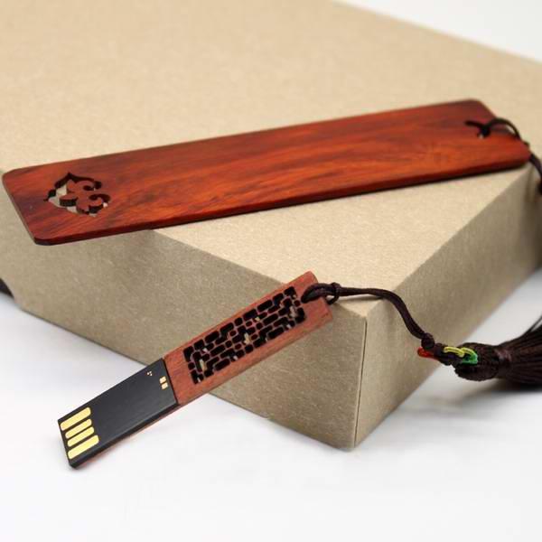 创意红木礼品U盘 定制红木礼品书签套装 会议礼品伴手礼