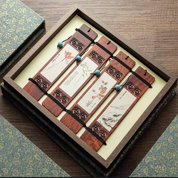 山水花卉红木书签 定制创意礼品书签 古典文化艺术品 办公书房用品