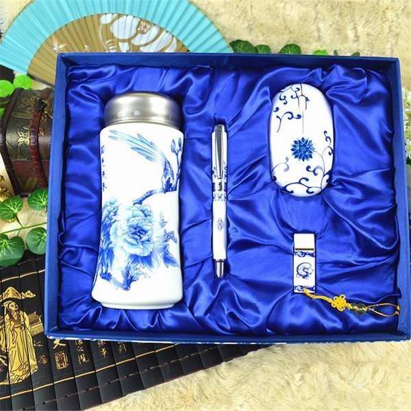 实用青花瓷保温杯套装 定制公司会议福利礼品纪念品会议商务礼品套装推荐