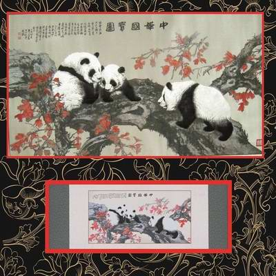 熊猫蜀锦卷轴 蜀锦蜀绣 四川特色礼品 成都工艺礼品定制