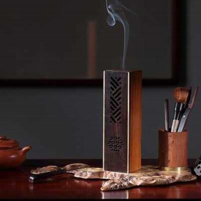 超然室内蓝牙音乐香炉紫光檀香炉红木香道工艺品摆件