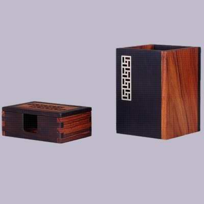 红木办公笔筒名片盒商务套装办公文化摆件