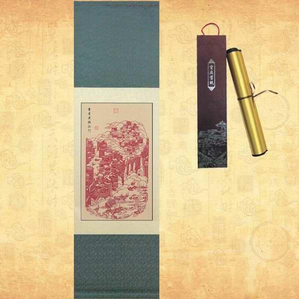 定做剪纸丝绸卷轴 手工剪纸卷轴挂画 办公室装饰画礼品定制