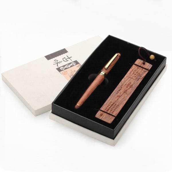 红木签字笔两件套 创意商务办公礼品 朋友生日礼物定制