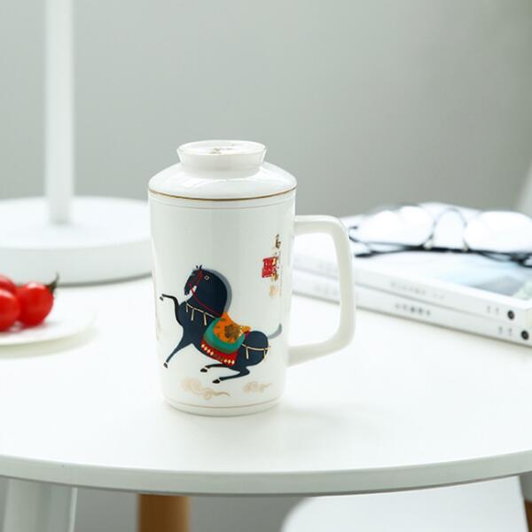 商务陶瓷茶杯 带盖礼品杯 定制办公会议杯