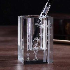 定做水晶笔筒 教师节送老师礼品 老师办公室摆件笔筒