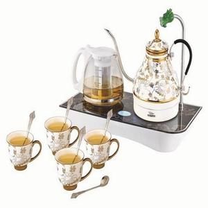 烁之乔陶瓷电热水壶 商务茶具套装 黄金藤花 自动上水